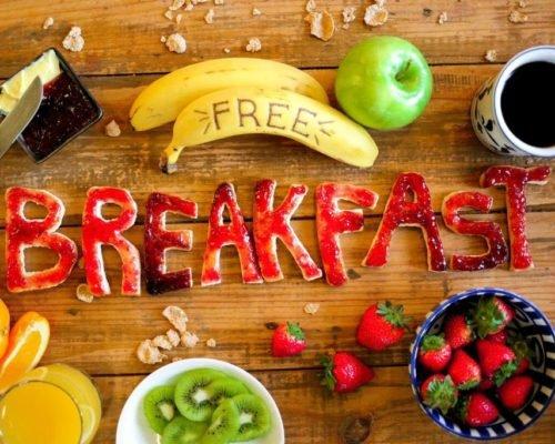 free breakfast signage